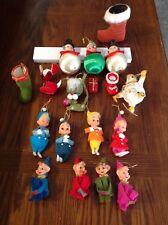 Lot of Vintage Christmas Elf Pixies Knee Huggers, Felt Figures, Satin Head Ornam