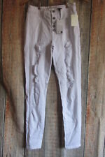 Women's High Waisted Ripped Distressed Destroyed Skinny Jeans White Size 5