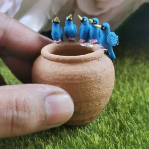 Miniature Dollhouse Blue Finch Birds 5 Clay Figurines Animal Fairy Garden Decor