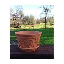 Set of 2 Raised Sunflower Embellished Clay Terracotta Garden Pots with Trays