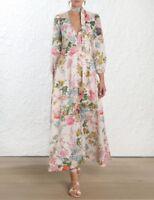 ZIMMERMAN Resort19 FLORAL HEATHERS PLUNGE LONG WOMEN'S DRESS $650