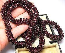 Superba PESANTE VINTAGE naturale Bohemien Rosso Granato Pietra Collana di perline lunga 128.9g
