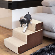 Portable Pet Stairs Soft Ramp Ladder for Dog Cat  2 & 3 Steps in 1 Design Beige