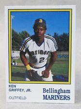 KEN GRIFFEY JR. 1987 Bellingham Mariners rookie card COMPLETE SET