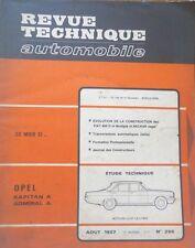 Revue technique OPEL KAPITAN A ADMIRAL A RTA 256 1967 FIAT 600 D MULTIPLA NECKAR