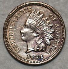 AU-UNC 1862 Indian Head Cent, Sharp, lightly toned specimen