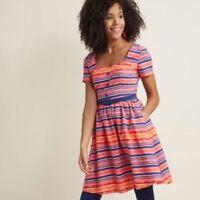 Modcloth Dress Womens M Fit Flare Dress Striped Pinup Sweetheart Mod Belt