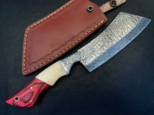 Handmade Damascus Steel Hatchet / Axe-Leather Sheath-Functional-Camping-dh