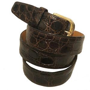 $395 A.TESTONI Men's Brown Genuine Crocodile Skin Dress Belt - W 34
