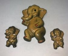 Vintage Chalkware Elephant and 2 damaged babies Wall Hangings Plaques