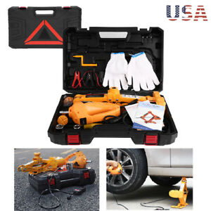 """3 Ton Automotive Electric Scissor Car  Lift 12V DC Wrench with 1/2"""" Impact"""