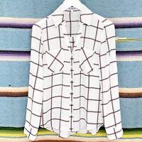 Express Portofino Shirt Sz XS White Windowpane Plaid Button Down Long Sleeve Top