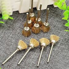 10PC 15mm Cup Bowl Brass Wire Brush 3mm Shank For Die Grinder Rotary Power Tool