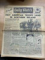 """WW2 """"AMERICAN TROOPS LAND IN N. IRELAND"""" THE DAILY SKETCH NEWSPAPER 27 JAN 1942"""