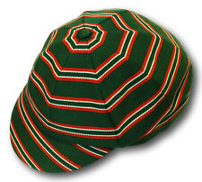 Green Red & White Venetian Stripe Wool Worsted School Uniform / Rowing Cap