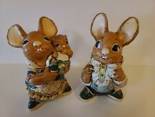 Vintage Pendelfin Rabbit Stonecraft Statues Father And Mother And Baby Set Of 2
