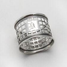 Grid Design Napkin Ring Banded Rims Gorham Sterling Silver Mono