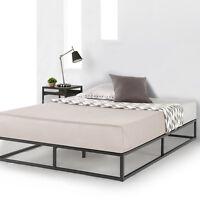 Metal Platform Bed Frame Wooden Slat Support Mattress Foundation Queen Dorm Twin