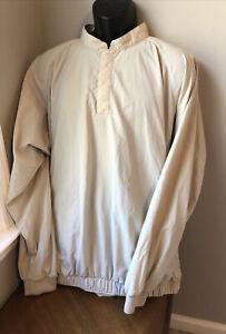Mens FOOTJOY Golf Pullover Jacket Wind Shirt Tan XL Snaps