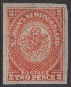 NEWFOUNDLAND 11 1860 2 PENCE ORANGE IMPERFORATE XF MPH CV $1200