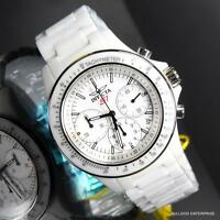 Mens Invicta S1 Rally Overdrive Chronograph White Ceramic 45mm Watch New