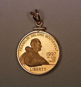 1997 Franklin Deleno Roosevelt FDR Bezel is 14k 9.7g  Proof Pendant Coin
