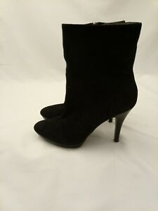 BANANA REPUBLIC black suede heeled ankle booties pointed toe boots sz 8.5M