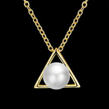 Elegant 18k 18CT Yellow Gold Filled GF Pearl Pendant Chain Necklace N548