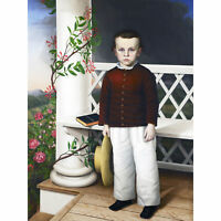 Read Portrait Boy Porch Hat Roses Dark Cloud Painting Extra Large Art Poster