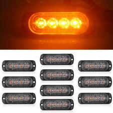 10pcs AMBER 4 LED Yellow Emergency Warning Strobe Lights Bars DC 12V