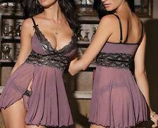 Sexy Womens G-string Underwear Lingerie Nightgown Sleepwear Babydoll Dress Set F