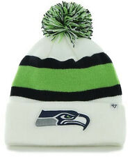 SEATTLE SEAHAWKS NFL WHITE VINTAGE WINTER 47 KNIT 3-TONE POM BEANIE CAP HAT NWT!