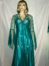 GORGEOUS NWT green long satin lace negligee lingerie peignoir night gown M/L