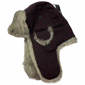Bloomingdales Mens Natural Rabbit Fur Ear Flap Trapper Hat Burgundy OS