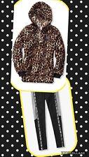 Victoria's Secret PINK Hoodie Pullover 1/2 ZIP Leopard Sherpa & Fleece Leggings