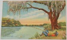 Used Vintage Black Americana All's Peaceful On Suwannee River Postcard Ephemera
