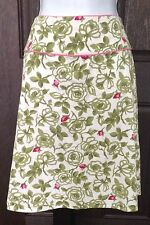Studio Y Womens Pretty Cotton Spring Floral Skirt SZ 5 White Pink Green Stretchy