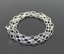 STERLING SILVER PLATED 60CM  OVAL LINK UNISEX WOMENS GIRLS MENS BOYS NECKLACE