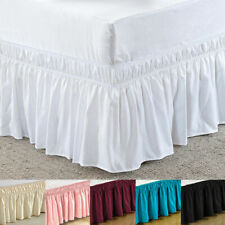 Elastic Bed Skirt Dust Ruffle Wrap Around Bedspread Covers Twin Full Queen King