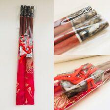 2Pair Wood CHOPSTICK+REST+Gold Thread Embroidery Holder~Wedding GIFT SET~FUCHSIA