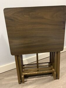 Vintage TV Tray Tables Wooden Set Of 4 With Stand Folding Portable Brown MCM
