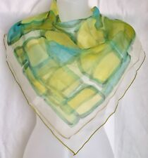 "Vintage Green & Blue Scarf Block Watercolor Design 27"" Nylon"