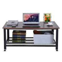 Coffee Table With Storage Shelf Wood Table With Metal Frame Portable Game Table