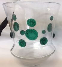 MID CENTURY CLEAR HAND BLOWN GLASS VASE CHAMPAGNE BUCKET  GREEN APPLIED FLOWERS