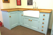 MADE TO ORDER L-SHAPE PINE SINK UNIT PINE WITH SOLID OAK WORKTOP, SINK & TAPS