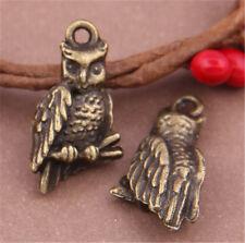 PJ620 10pc Antique Bronze owl Pendant Bead Charms Accessories wholesale