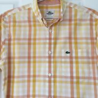 Lacoste Mens Shirt Size 38 Orange Yellow Check - Long Sleeve Shirt Button Down
