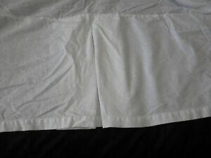 "Pottery Barn King Size Belgian Flax Linen Bed Skirt White Box Pleat 14"" Drop"