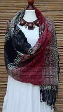 LAGENLOOK LARGE SOFT WOOL MIX FASHION TARTAN/CHECK*RED/BLACK* WINTER SCARF *NEW*