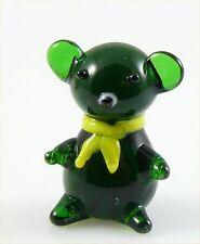 Bear Teddy Bear Miniature Figurine Dark Green Glass approx 1 inch tall